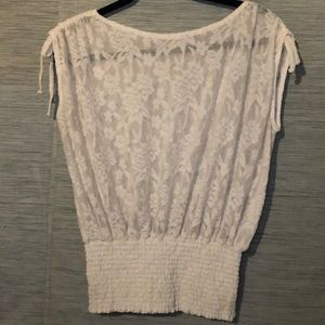 Anthropologie Cream Lace Top